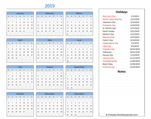 2019 calendar with holidays and notes