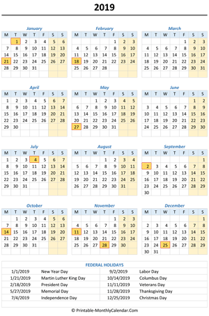 2019 yearly calendar holidays vertical