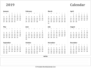 2019 yearly calendar notes horizontal