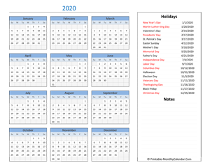 2020 calendar with holidays and notes