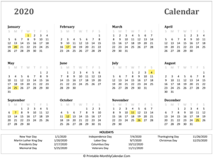 2020 yearly calendar with holidays (horizontal)