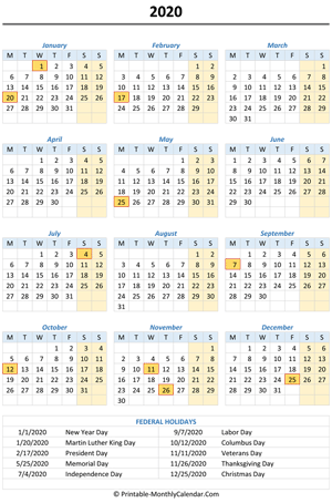 2020 calendar with holidays (vertical)