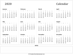 2020 yearly calendar notes horizontal