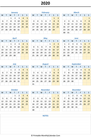 2020 calendar with notes (vertical)