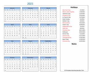 2021 calendar with holidays and notes