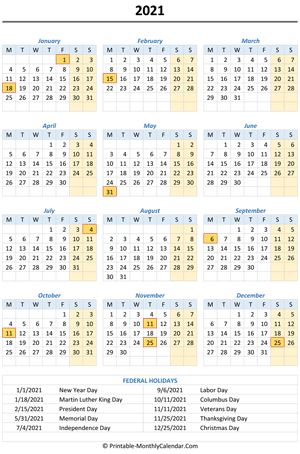 2021 yearly calendar holidays vertical