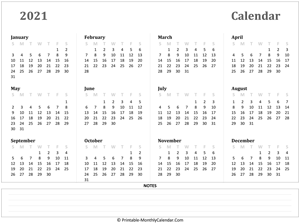 2021 yearly calendar with notes (horizontal)
