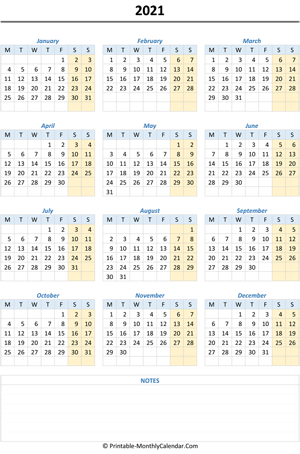 2021 calendar with notes (vertical)
