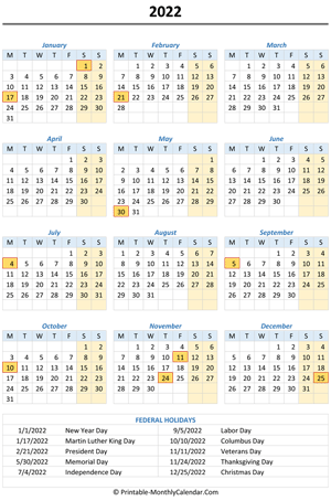 2022 calendar with holidays (vertical)