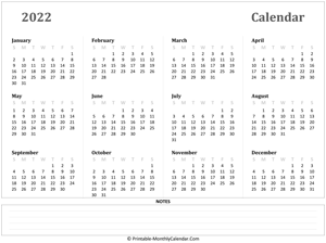2022 yearly calendar with notes (horizontal)