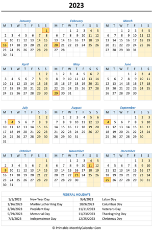 2023 calendar with holidays (vertical)