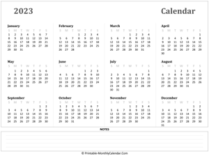 2023 yearly calendar with notes (horizontal)