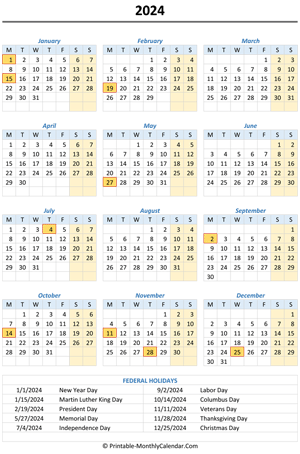 2024 calendar with holidays (vertical)