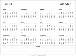 2024 yearly calendar notes horizontal