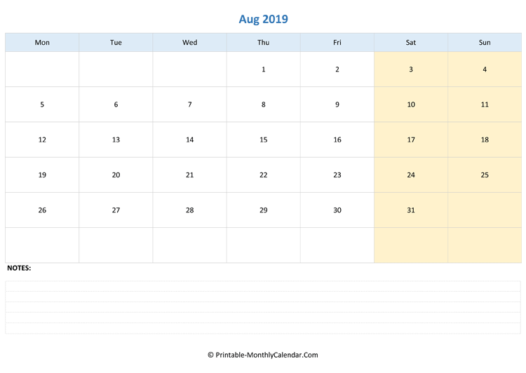 august 2019 editable calendar with notes (landscape layout)