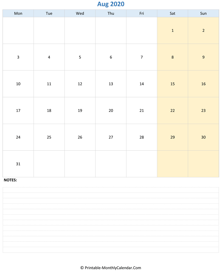 august 2020 editable calendar with notes (vertical layout)