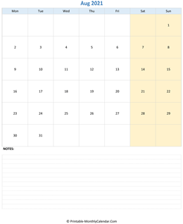 august 2021 editable calendar notes vertical