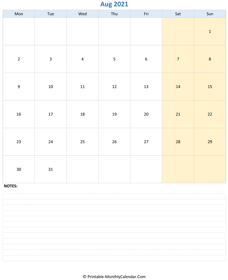 august 2021 editable calendar with notes (vertical layout)