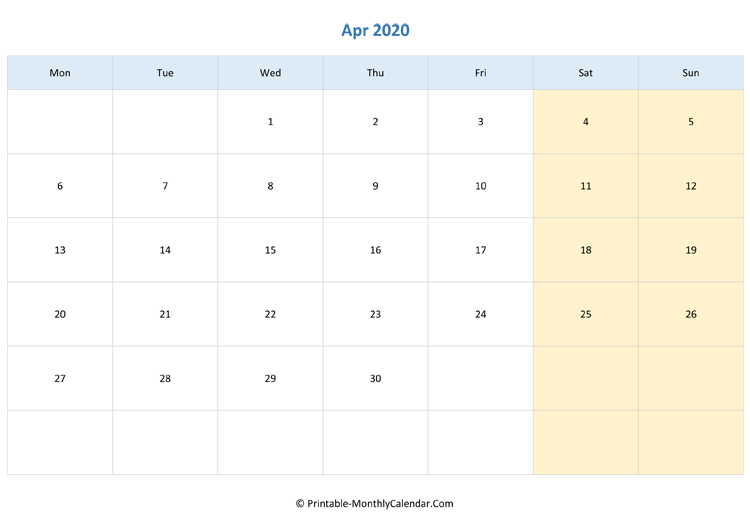 blank calendar april-2020 horizontal layout