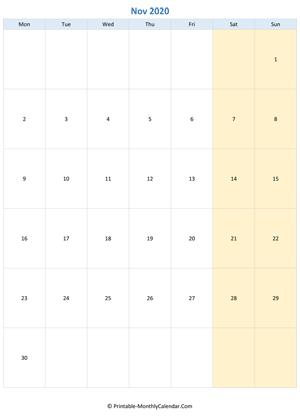 Blank Calendar November 2020.November 2020 Calendar Templates