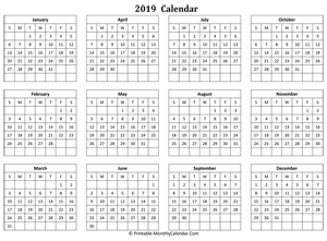 blank yearly calendar 2019 horizontal