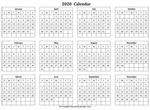 blank yearly calendar 2020 horizontal