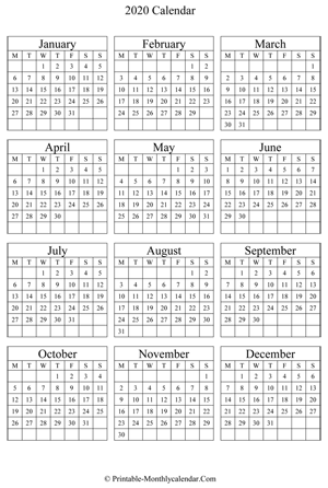 blank yearly calendar 2020 vertical