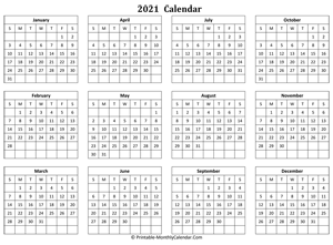 blank yearly calendar 2021 horizontal