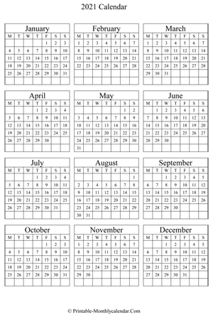blank yearly calendar 2021 vertical