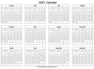 Julian Calendar 2022 Pdf.Printable Monthly Calendar 2022