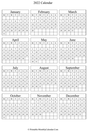 Printable Monthly Calendar 2022
