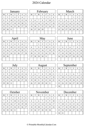 blank yearly calendar 2024 vertical