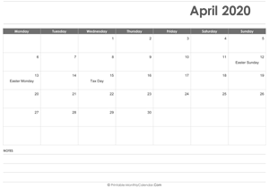 calendar april 2020 printable holidays landscape