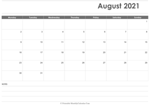 calendar august 2021 printable holidays landscape