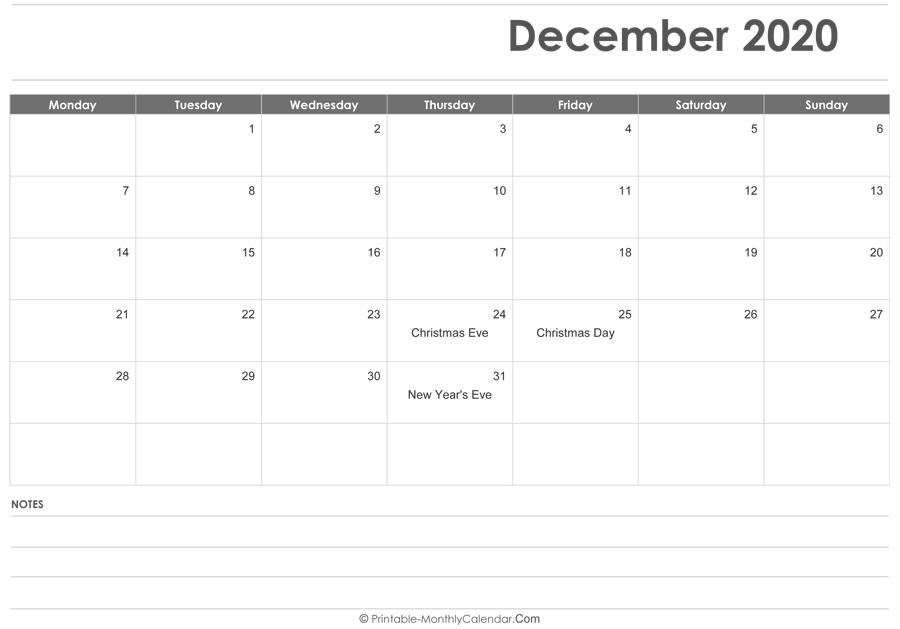 December 2020 Calendar Printable with Holidays