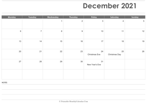 calendar december 2021 printable holidays landscape
