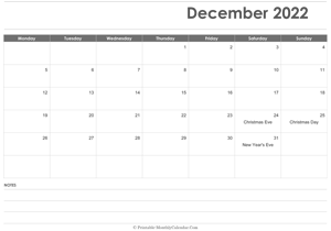 calendar december 2022 printable holidays landscape