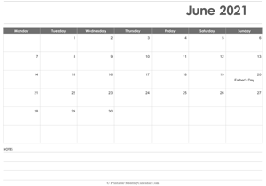 calendar june 2021 printable holidays landscape