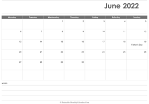calendar june 2022 printable holidays landscape