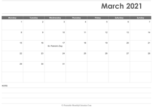 calendar march 2021 printable holidays landscape