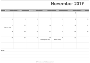 calendar november 2019 printable with holidays landscape layout