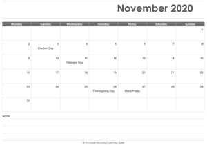 calendar november 2020 printable holidays landscape