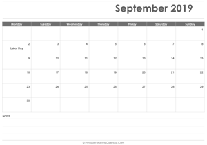 calendar september 2019 printable holidays landscape