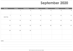 calendar september 2020 holidays