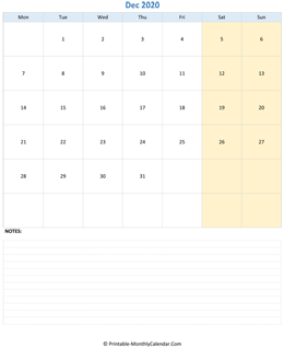 december 2020 editable calendar notes vertical