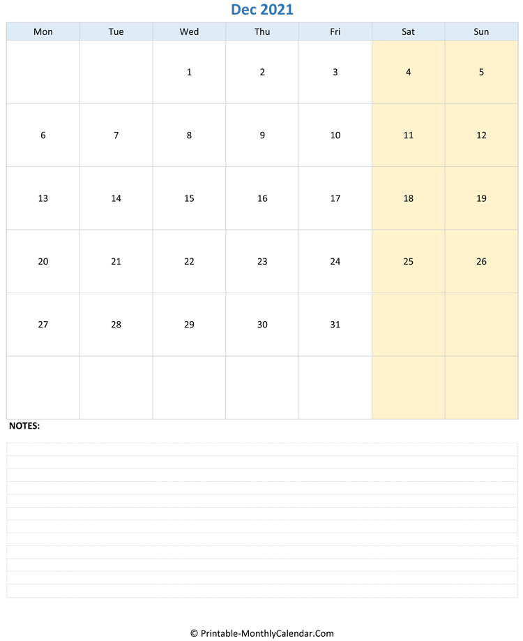 december 2021 editable calendar with notes (vertical layout)