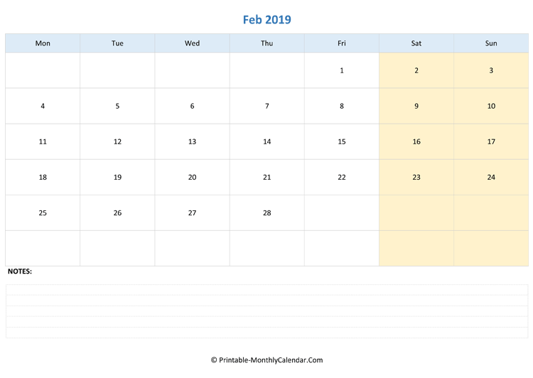 February 2019 Editable Calendar With Notes Landscape Layout
