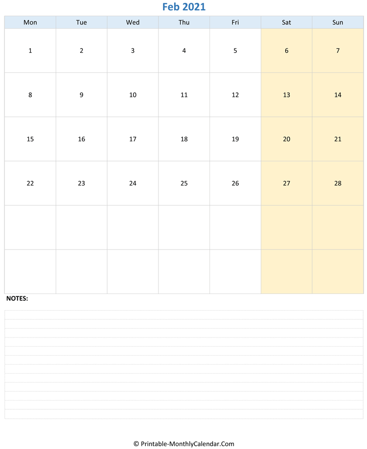 february 2021 editable calendar with notes (vertical layout)
