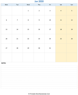January 2020 Calendar (vertical)