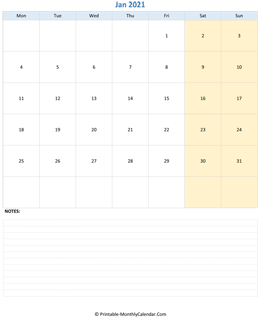 January 2021 Calendar (vertical)